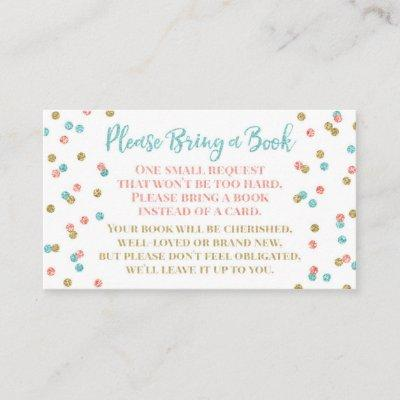 Baby Shower Book Request Teal Coral Gold Confetti Enclosure Card