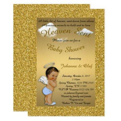 Baby Shower Boy, Baby Angel, glitter, Gold, braket Invitation