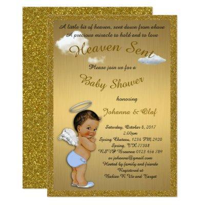Baby Shower Boy, Baby Angel, glitter, Gold Invitations