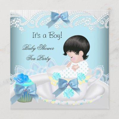 Baby Shower Boy Blue Baby Teacup Cupcake 2 Invitation