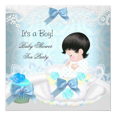 Baby Shower Boy Blue Baby Teacup Cupcake Invitation