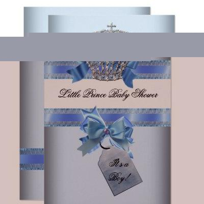 Baby Shower Boy Blue Little Prince Crown bow sml Invitation