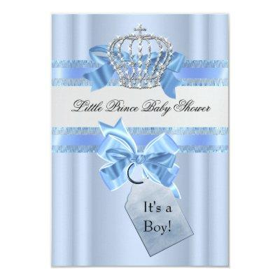 Baby Shower Boy Blue Little Prince Crown SML Invitations