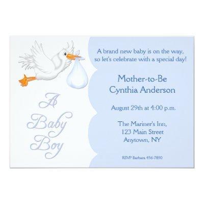Baby Shower Boy Blue Stork Invitations