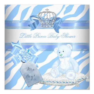 Baby Shower Boy Blue Zebra Prince Crown Teddy Bear Invitation