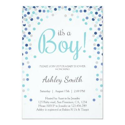 Baby Shower Boy Confetti Blue Silver Invitation