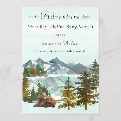 Baby Shower Boy Forest Adventure Bears Quarantined Invitation