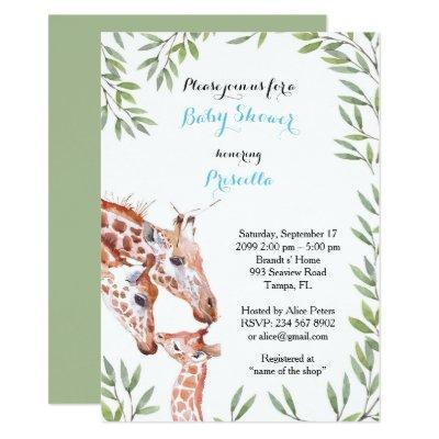 Baby Shower BOY, giraffe, white, almond, leaves Invitations