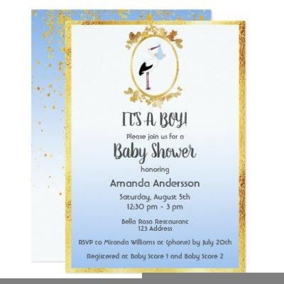 Baby Shower boy gold frame and stork white blue Invitations