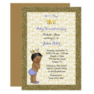 Baby Shower BOY,golden frame,white & gold. Invitation