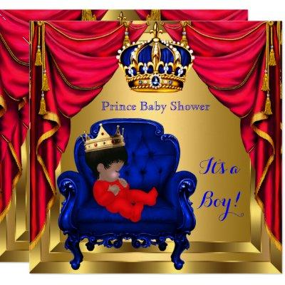 Baby Shower Boy Little Prince Blue Red Gold Ethnic Invitations