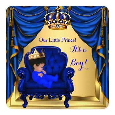 Baby Shower Boy Little Prince Royal Blue Gold Invitations