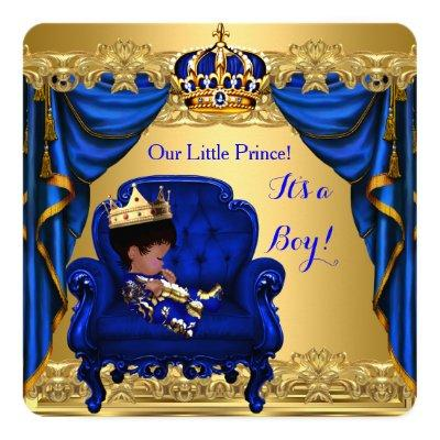 Baby Shower Boy Little Prince Royal Blue Golden Invitations