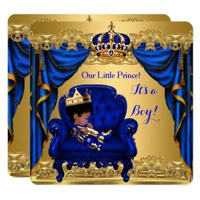 Baby Shower Boy Little Prince Royal Blue Golden Invitation