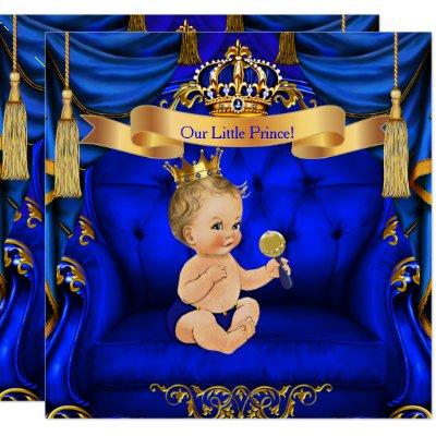 Baby Shower Boy Prince Royal Blue Gold Blonde boy Invitation