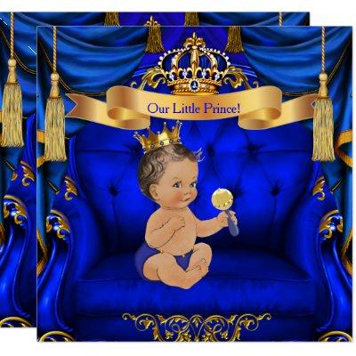 Baby Shower Boy Prince Royal Blue Gold Brunette Invitations