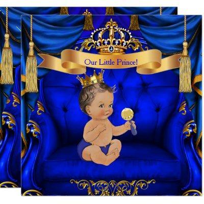 Baby Shower Boy Prince Royal Blue Gold Brunette Invitation