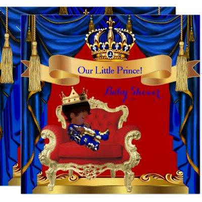 Baby Shower Boy Prince Royal Blue Red Ethnic Invitations