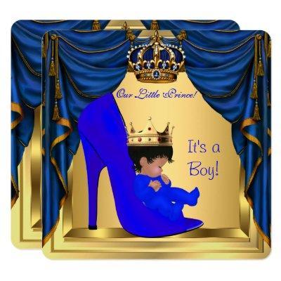 Baby Shower Boy Prince Royal Blue Shoe Gold Invitations