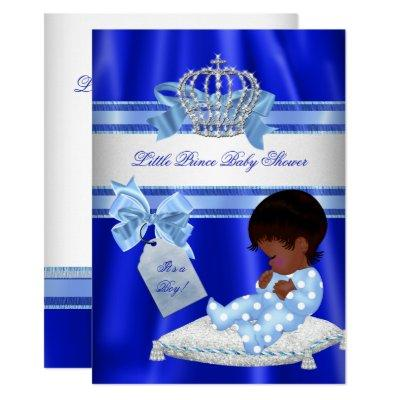 Baby Shower Boy Royal Blue Little Prince Ethnic Invitation