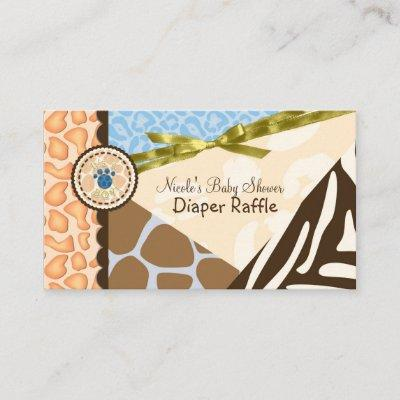 Baby Shower Boys Blue Safari Print Diaper Raffle Enclosure Card