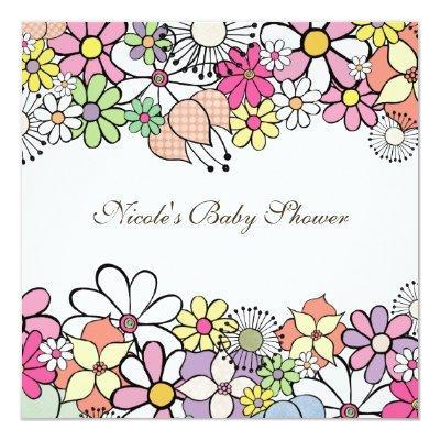 Baby Shower Bright Blossoms Custom Invitations