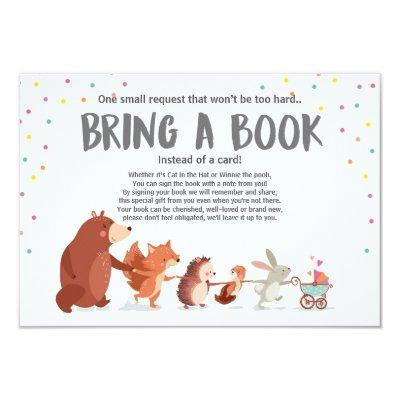 Baby Shower Bring a book Invitations Woodland animals
