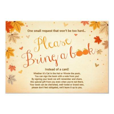 Baby Shower Bring a book Fall Autumn Leaves Invitations