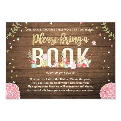 Baby Shower Bring a book Garden Wood Flowers Invitations