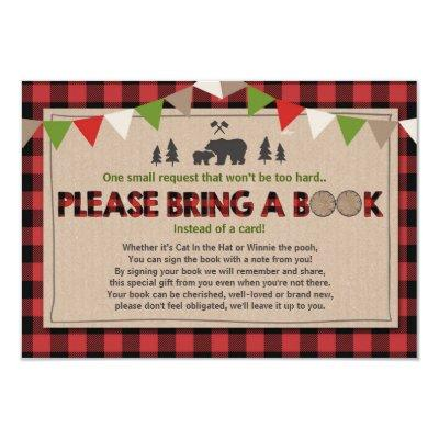 Baby Shower Bring a book Lumberjack Plaid Bear Invitations