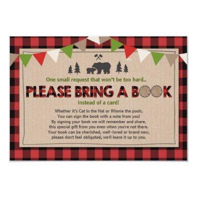 Baby Shower Bring a book Lumberjack Plaid Bear Invitations