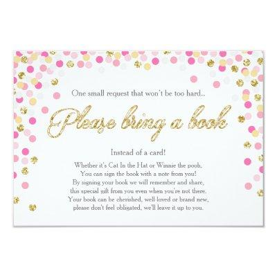 Baby Shower Bring a book Pink Gold Glitter Girl Invitations