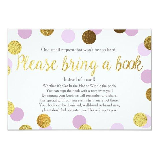 Baby Shower Bring A Book Purple Gold Glitter Girl Invitations Baby