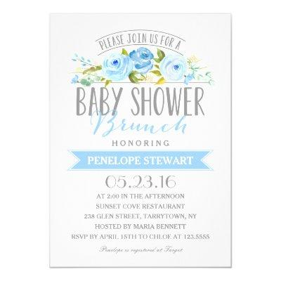 Baby Shower Brunch Blue | Baby Shower Invitations