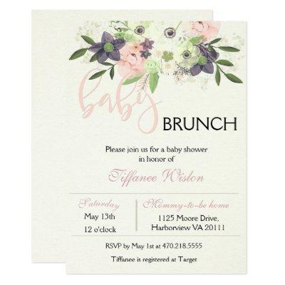 Baby Shower Brunch Invitations Floral Pink Girl