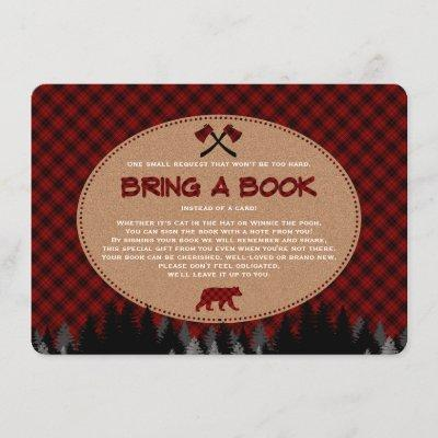 Baby Shower Buffalo Plaid Lumberjack Bring a Book Enclosure Card