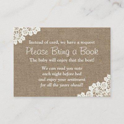 Baby Shower Burlap & Lace Bring a Book Request Enclosure Card