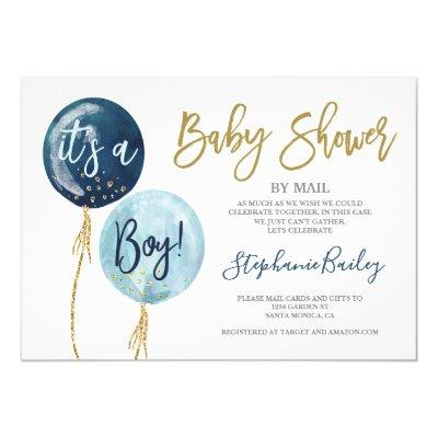 Baby shower by mail boy invitation