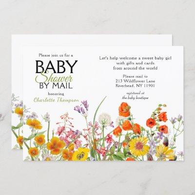 Baby Shower By Mail Colorful Wild Flowers Invitation