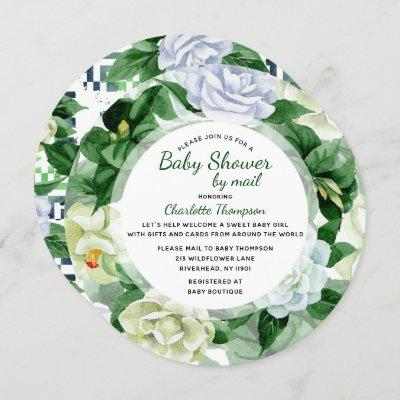 Baby Shower By Mail Green Watercolor Floral Invitation