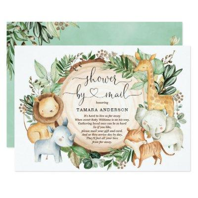 Baby Shower By Mail Greenery Safari Jungle Animals Invitation