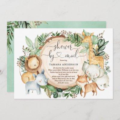 Baby Shower By Mail Greenery Safari Jungle Animals Invitation