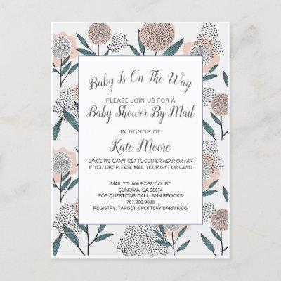 Baby Shower By Mail Hand Drawn Dusty Rose Floral Invitation Postcard