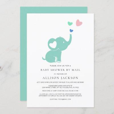 Baby Shower By Mail Mint Green Elephant Invitation