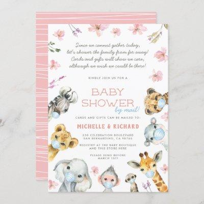 Baby Shower By Mail Safari Animals Pink Floral Invitation