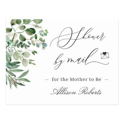Baby Shower By Mail Simple Elegant Eucalyptus Postcard