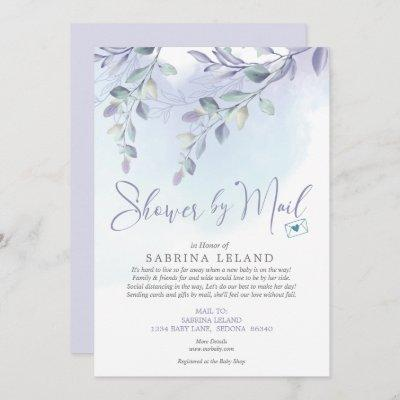 Baby Shower by Mail Watercolor Lilac and Sky Blue Invitation