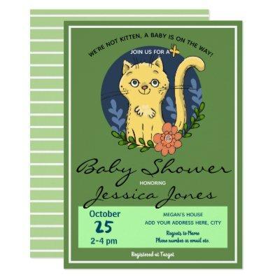 Baby Shower Cat Kitten Cute Invitation