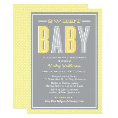 Baby Shower | Chic Type in Yellow and Gray Invitations