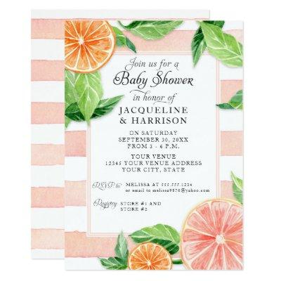 Baby Shower Citrus Pink Grapefruit Watercolor Invitation